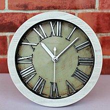 【四季居家用品】歐式復古做舊金屬立體數字鬧鐘木頭鬧鐘 時尚創意桌座鐘表靜音