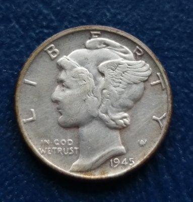 美國 墨丘利  1角  10分  ONE DIME  1945  銀幣(90%)   280-389
