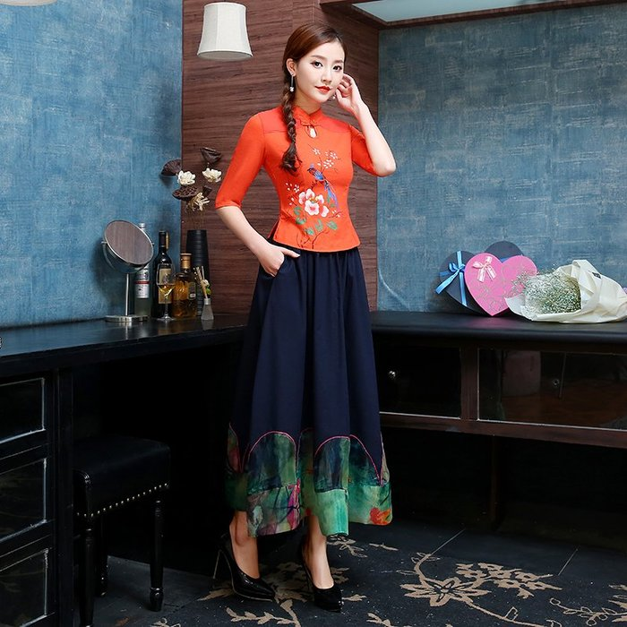 創意 民族風時尚春裝新款民族風女裝棉麻修身手繪盤扣中式立領短款唐裝上衣