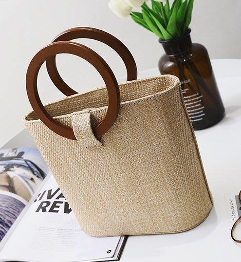 100%Boutique2018新款夏日渡假編織實木手提包百搭斜背包