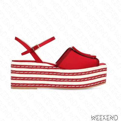 【WEEKEND】 ROGER VIVIER Striped 條紋 厚底 涼鞋 拖鞋 紅色 19春夏