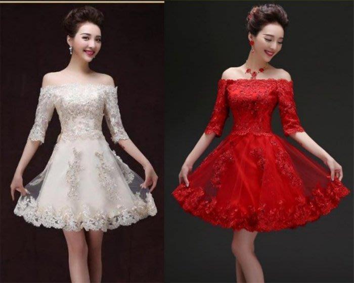 【曼妮婚紗禮服】3件免郵~新款伴娘禮服/新娘敬酒服一字領五分袖短款小禮服~HA002
