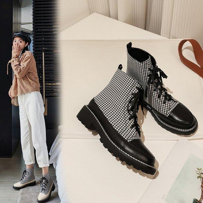 『Alice❤愛麗絲』春秋季新款短筒帥氣馬丁靴女英倫風厚底格子小短靴單靴