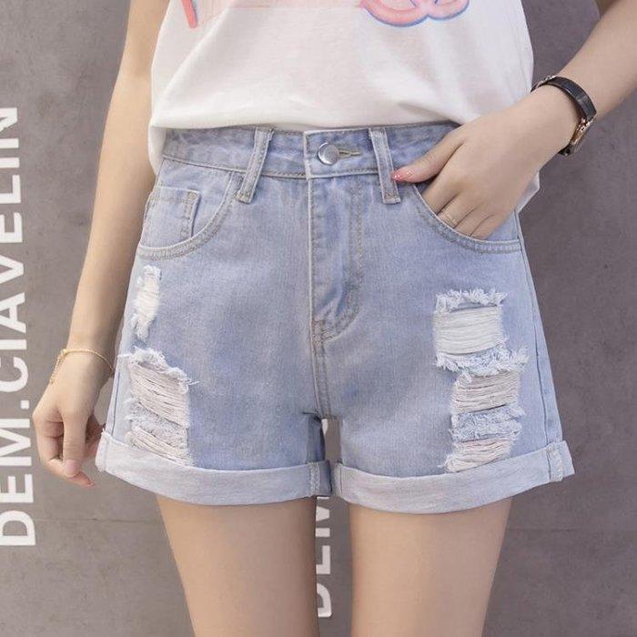 免運 牛仔短褲女高腰夏季2020新款韓版寬鬆顯瘦破洞百搭外穿超短熱褲潮 KSSJ12030