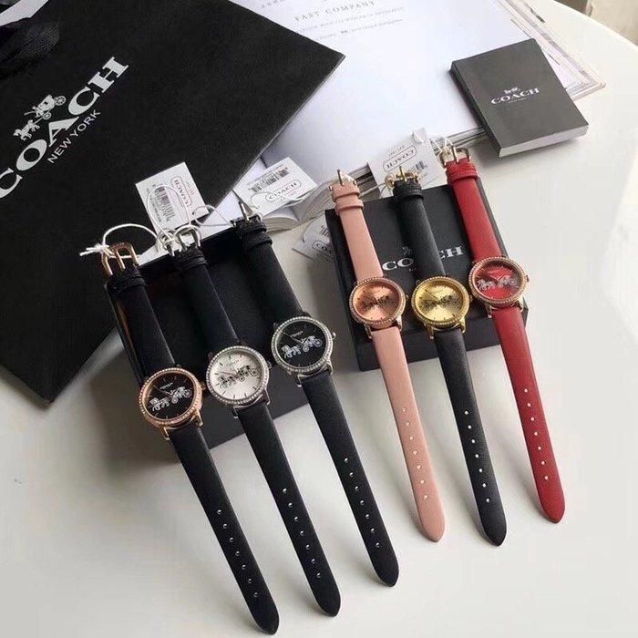 NaNa代購 COACH 手錶 帶鑽皮錶帶 大馬車LOGO  素面真皮錶帶 精緻大氣 附購證 禮品盒