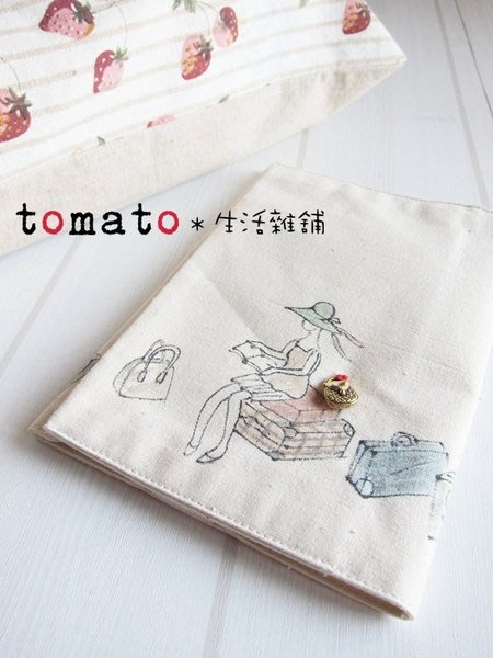 ˙TOMATO生活雜鋪˙日本進口手作棉麻風女孩旅行圖樣小說行事曆書套