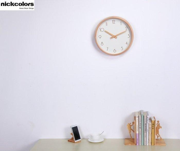 尼克卡樂斯~北歐實木框掛鐘 [實木指針阿拉伯數字款]  靜音時鐘 工業風掛鐘 歐洲鄉村風時鐘 客廳時鐘 臥室時鐘 壁掛鐘