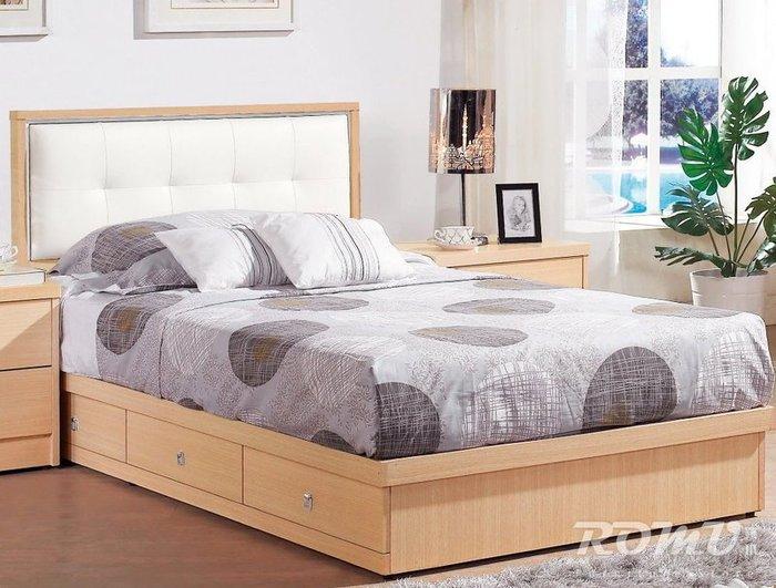 【DH】商品編號G627-1商品名稱妮可安3.5尺白橡抽屜床架。備有胡桃色系/另計。台灣製。主要地區免運費