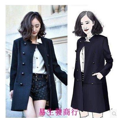 【易生發商行】巴黎時裝周同款黑色雙排扣毛呢外套中長款軍裝氣質大衣F6255