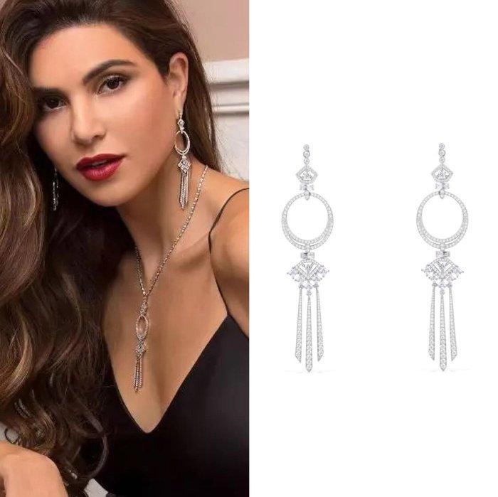 💎597、維也納中世紀高雅女伶氣質耳環💎 水晶 鑽石 正韓 寶石