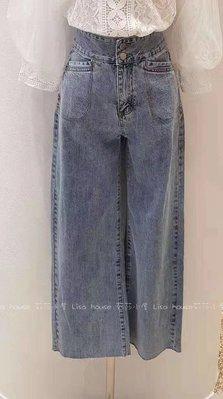 【莉莎小屋】正韓 春款新品 ?韓國連線代購-雙扣寬管牛仔褲(現貨 M*1)??OS200204