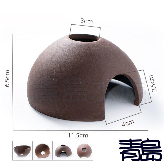 Y。。。青島水族。。。ST-201陶瓷工坊-Oracle甲骨文 紫砂 躲藏 甕 異型慈鯛蝦屋 精緻鍋蓋 胖瓦==半顆椰子