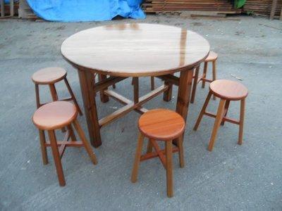 A033 {崙頂傳統原木家具行}~實木圓桌配實木椅頭仔《接受訂做 訂色 多張多組有優惠》