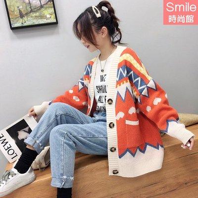 【V3053】SMILE-慵懶風.撞色拼色長袖針織毛衣外套