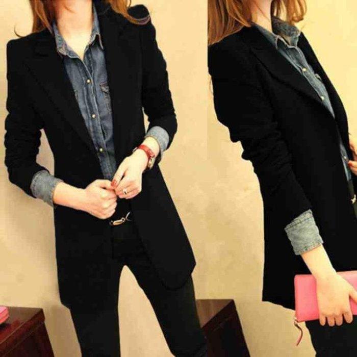 西裝外套女黑色 春新款正韓時尚小西裝中長款修身休閒西服上衣—全館新春優惠
