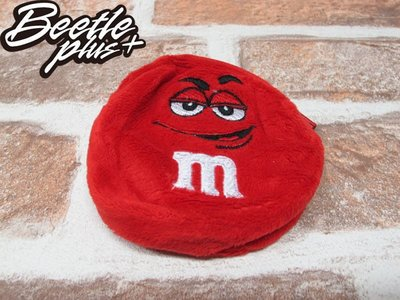 BEETLE PLUS 西門町實體店面 全新 M&M'S 巧克力造型 小零錢包 COIN PURSE RED PLUSH 紅 拉鍊式 絨布