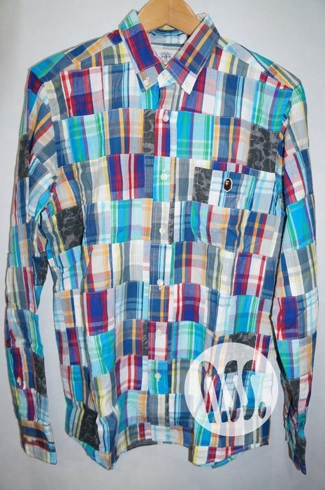 特價「NSS』A BATHING APE BAPE CHECK PATCHWORK SHIRT 拼接 長袖 襯衫 L