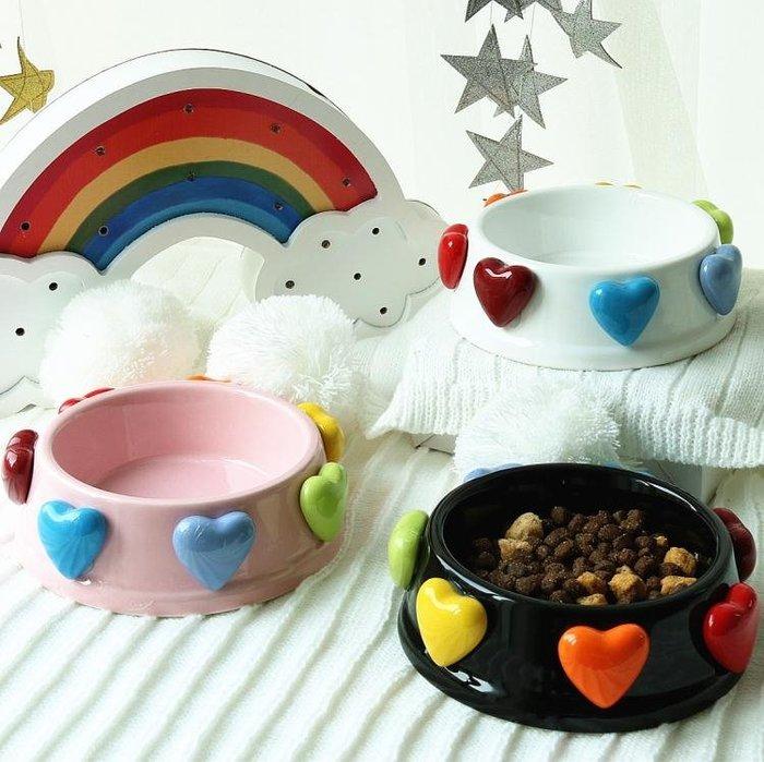 寵物碗美到哭泣的愛心陶瓷寵物貓咪狗狗食盆 狗碗 貓碗 飯碗