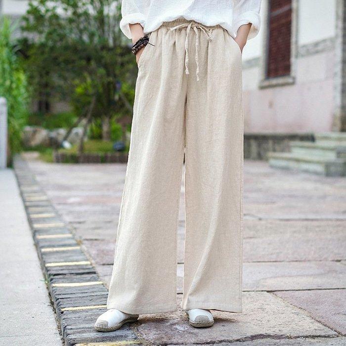 【子芸芳】棉麻文藝復古寬鬆大碼休閒長褲闊腿褲
