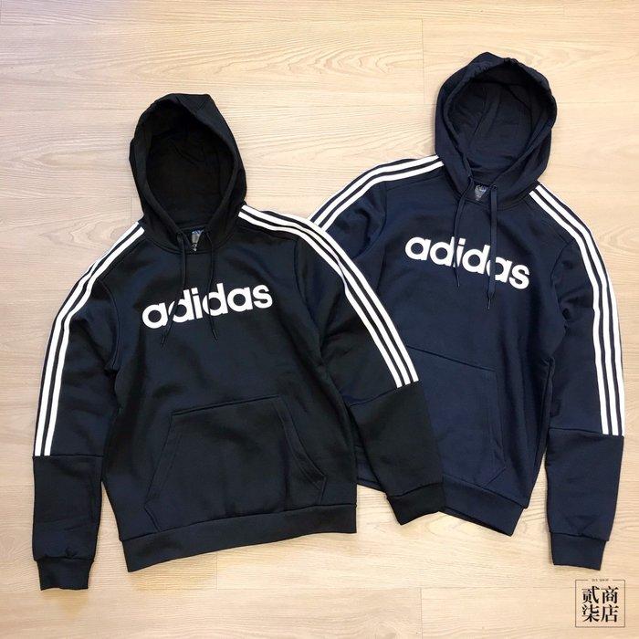 (貳柒商店) adidas 3S Hoodie 男款 復古 Logo 帽T 連帽 黑 EI8984 藍 EI8985