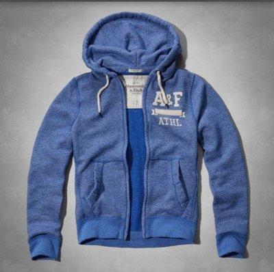 [Super 美國現貨] Abercrombie & Fitch  男款 藍色 刷毛 連帽外套 S號 特價1200
