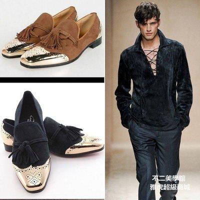 【格倫雅】^流行男鞋復古休閑皮鞋金屬頭雕花鞋頭低幫鞋亮片手工鞋6556[g-l-y43