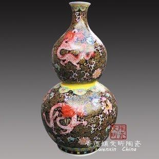 INPHIC-陶瓷葫蘆瓶粉彩紋龍新居必備熱賣藝術瓶擺飾觀賞瓶