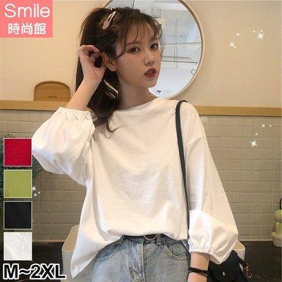 【V3049】SMILE-原宿港風.純色圓領寬鬆燈籠袖上衣