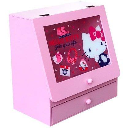 限時優惠價 正版 木製 45th Hello Kitty 掀開式收納盒 KT-630054【羅曼蒂克專賣店五館】