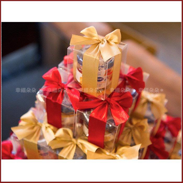 幸福朵朵【甜蜜蜜「透明盒裝」瑞士進口hero蜂蜜小禮盒 x 91盒 (紅色+金色緞帶)-送客婚禮小物