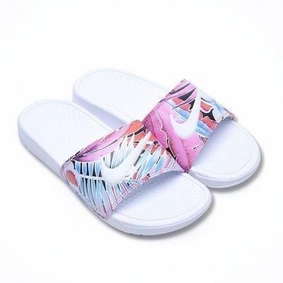 =CodE= NIKE W BENASSI JDI PRINT 圖騰皮革防水拖鞋(白粉紅扶桑花)618919-113 女