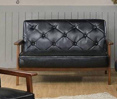 ~ 家傢俱~KV~PSF~D12~北歐胡桃雙人沙發~4500元~兩人沙發 復古 日式沙發 美式 實木沙發 二人黑皮沙發