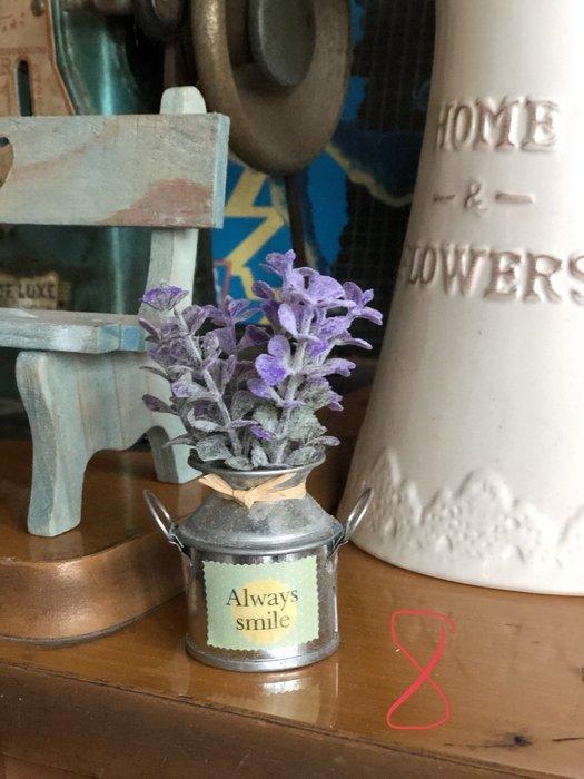 8號 馬口鐵 紫花 小花 仿真 裝飾 佈置 迷你 復古 小物 盆栽 陶瓷  鐵皮 澆水器 書桌 小葉 雜貨 可愛