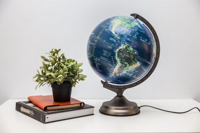 [凱溢地球儀] 12寸立體衛星圖三段觸控式地球儀 鐵質尖頭底座 (LED新版)台灣製造