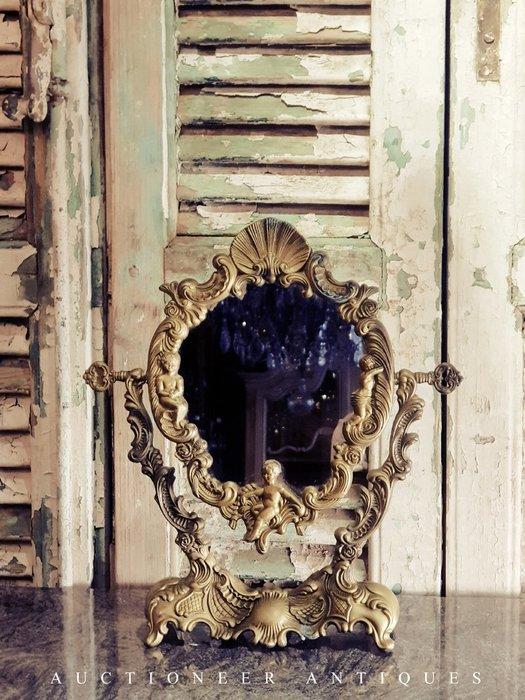【拍賣師古董市集】歐洲古董1930年代法國黃銅梳妝鏡