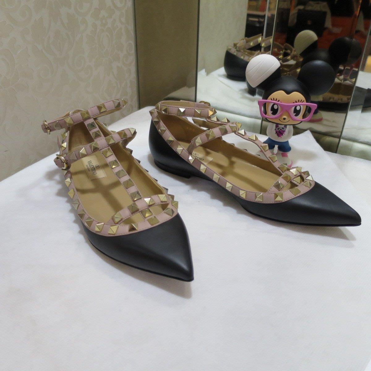 典精品名店 Valentino 真品 黑色 鉚釘鞋 平底鞋 尺寸 36.5 現貨