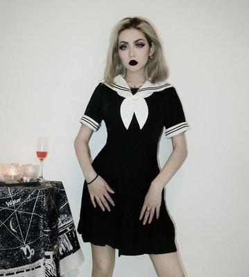 【黑店】原創設計 訂製款刺繡水手服洋裝 學院風刺繡短袖洋裝 暗黑系個性短袖洋裝 水手領短袖個性洋裝MB206