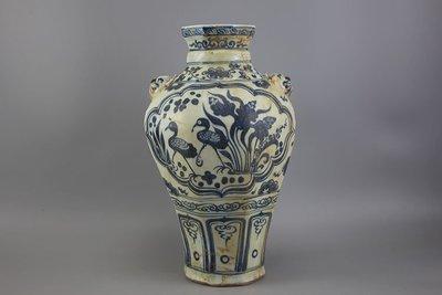 ㊣姥姥的寶藏㊣元青花鴛鴦紋雙耳梅瓶 古玩 民間收藏