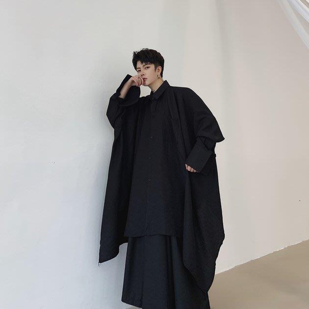 FINDSENSE 2019 秋季上新 G19 日系不規則寬鬆蝙蝠袖長袖純色襯衫白色長款素面襯衫 男裝 上衣
