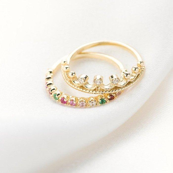 925銀飾品純銀小皇冠鑽石寶石套戒 彩鑽小戒指 彩色寶石彩虹戒指