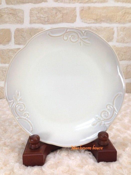點點蘑菇屋 義大利WALD經典立體雕花大地色系列手繪高溫陶瓷21公分(駝/白色)點心盤 水果盤 晚餐盤 現貨