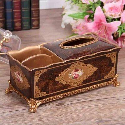 粉紅玫瑰精品屋~歐式玫瑰復古面紙搖控收納盒~