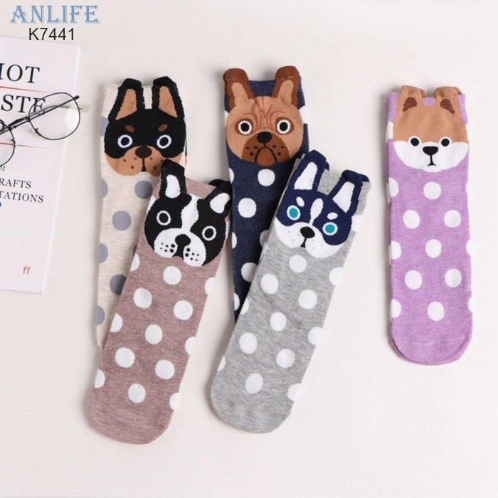 ANLIFE》秋冬女士中筒襪子棉襪舒適學生襪子可愛動物小狗圓點點襪子K7441