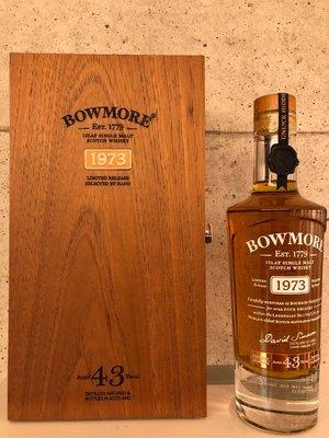 Bowmore 1973-2016  43 Years Scotch   Whisky 700ml Matured in Bourbon Hogsheads