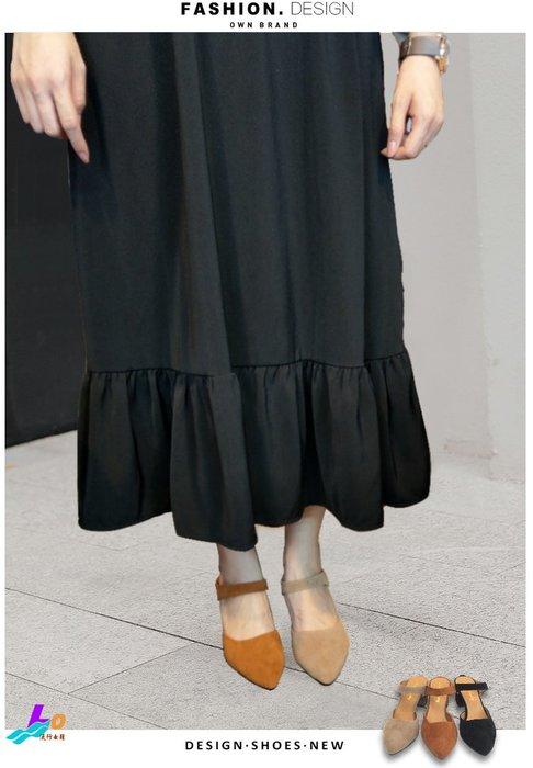 Lo流行女鞋~~~~~ 完美視覺~~~ *.:. 素色絨面中高跟尖頭穆勒鞋