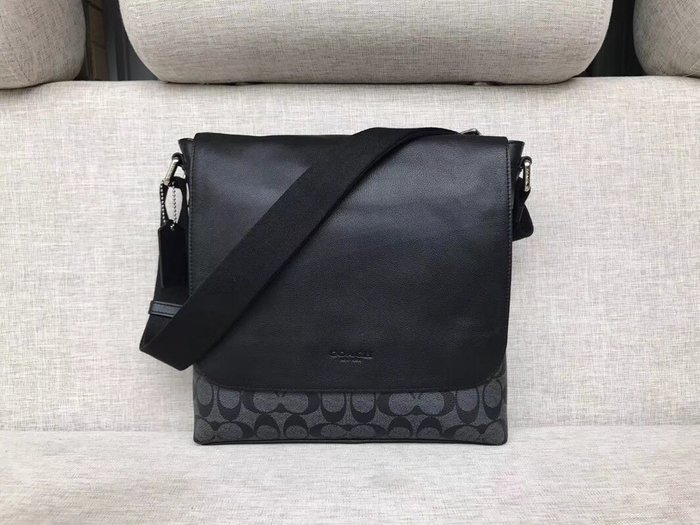 NaNa代購 COACH 54771 黑色/深咖啡色 單肩包 側背包 斜跨包 公務休閒雙用包 翻蓋磁吸款 附購證
