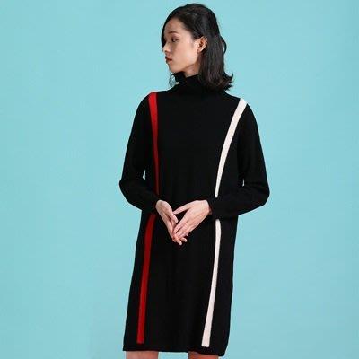 羊毛 衫 高領洋裝-撞色線條中長款秋冬女連身裙2色73uj41[獨家進口][米蘭精品]