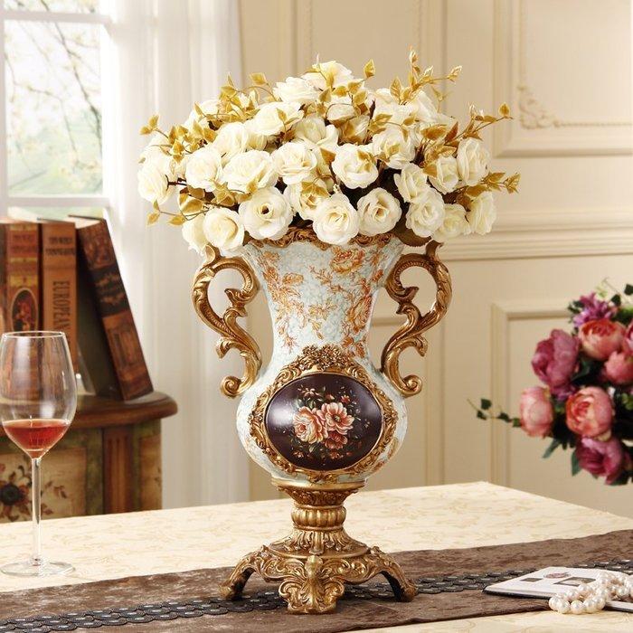 粉紅玫瑰精品屋~歐式奢華樹脂花瓶擺件~配花