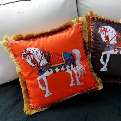 愛馬仕抱枕靠墊枕頭靠枕 居家裝飾客廳擺件Hermes 45*45 不含芯