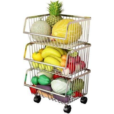 304不銹鋼廚房置物架落地多層家用品儲物收納筐放水果蔬菜籃架子 NMS